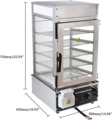 Amazon Com Electric Bun Steamer Hot Food Warmer Display Glass Cabinet Machine With Automatic Temperature Control 110v 5 Layer Kitchen Dining
