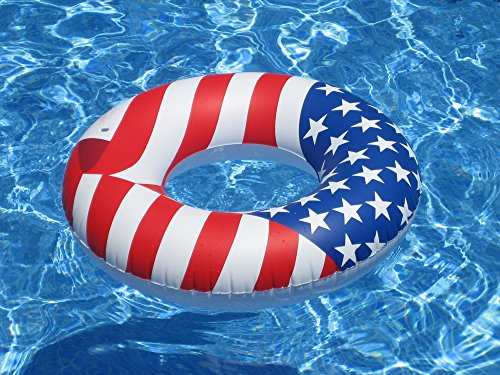 Swimline 36 Inch Inflatable Patriotic American Flag Swimming Pool Tube Float ()