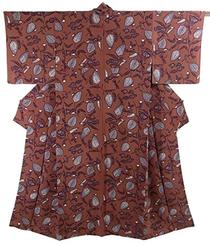 リサイクル 着物 小紋 ちりめん 正絹 袷 トンボに木の葉 裄63cm 身丈159cm