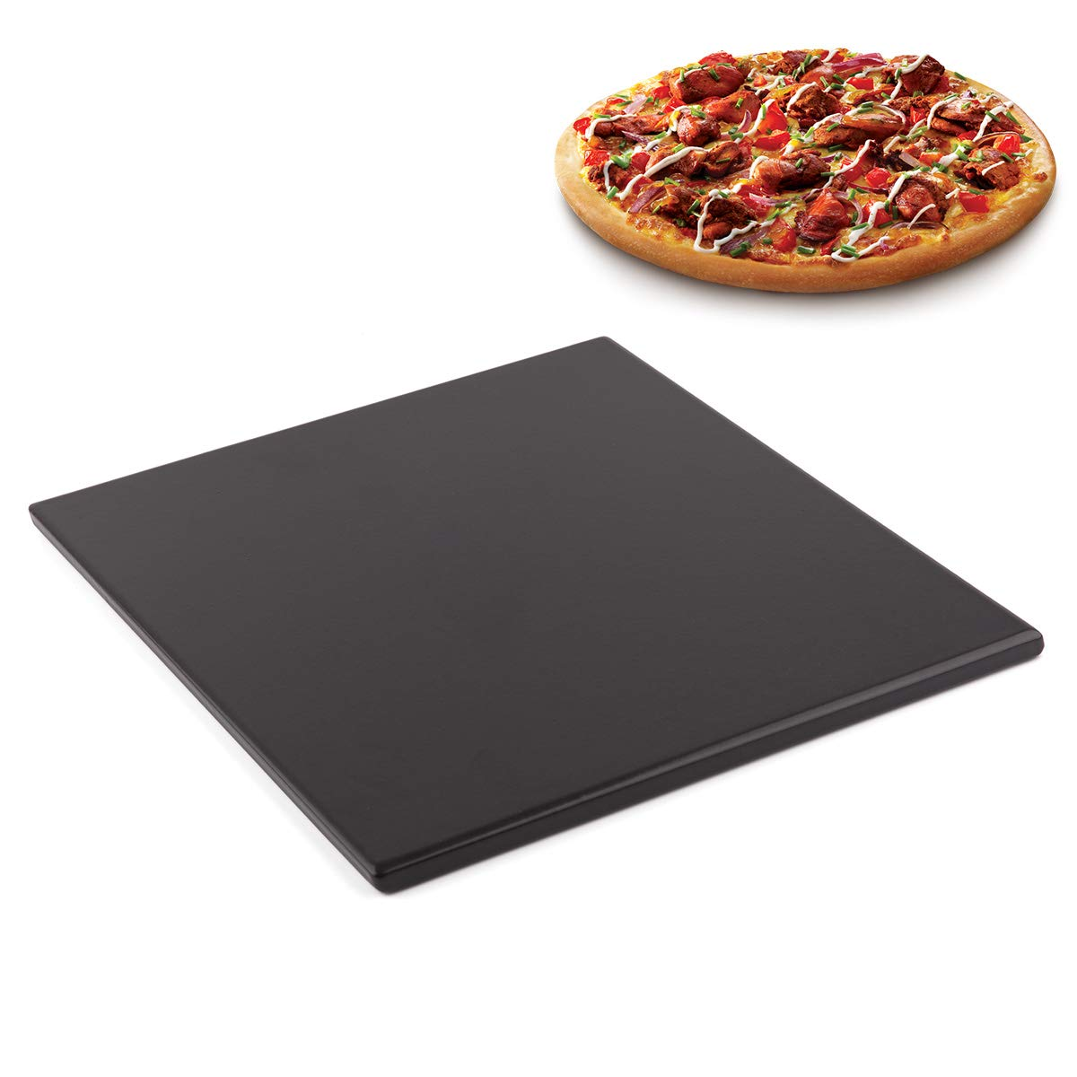 "Waykea 12""x12"" Black Ceramic Pizza Stone Baking Grilling Stone for BBQ Grill Oven RV Oven"