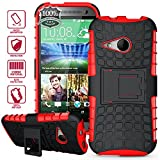 ElBolt TM 3 in 1 Bundle HTC One Mini 2 / HTC One Remix / HTC M8 Mini Armor Grenade Stand Hard Gel Case -Red with Free Ultra-Sensitive Stylus Pen and Premium Screen Protector by ElBolt TM