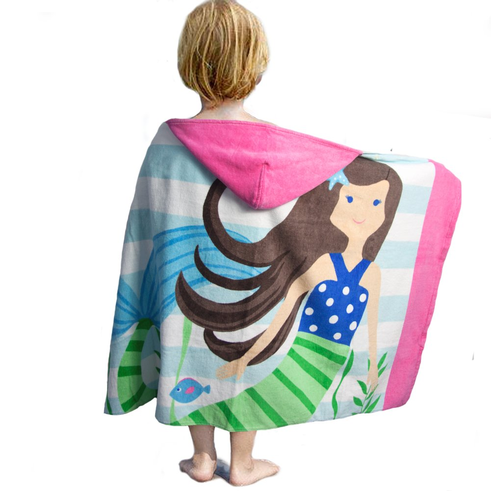 LALIFIT 100% Cotton Kids Hooded Poncho Swim Beach Bath Pool Towel for Girls/Boys(Brown Hair Mermaid)