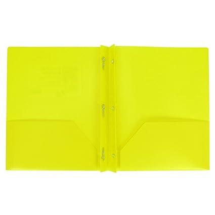 amazon com plastic folder with prongs 2 pocket up up yellow