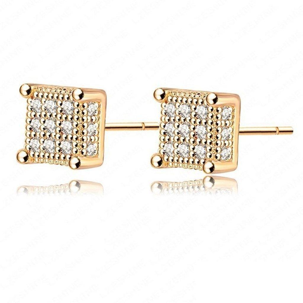 KnSam Women Gold Plate Drop Earrings Square Crystal Rhinestone Novelty Earrings