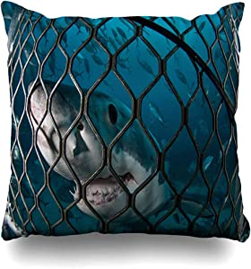 Throw Pillow Case Australia Underwater Great White Shark Andrew Nature Big Carcharias Carcharodon Diving Design Islands Home Decor Pillow Cover Square Size 18x18 Inches Zippered Pillowcase