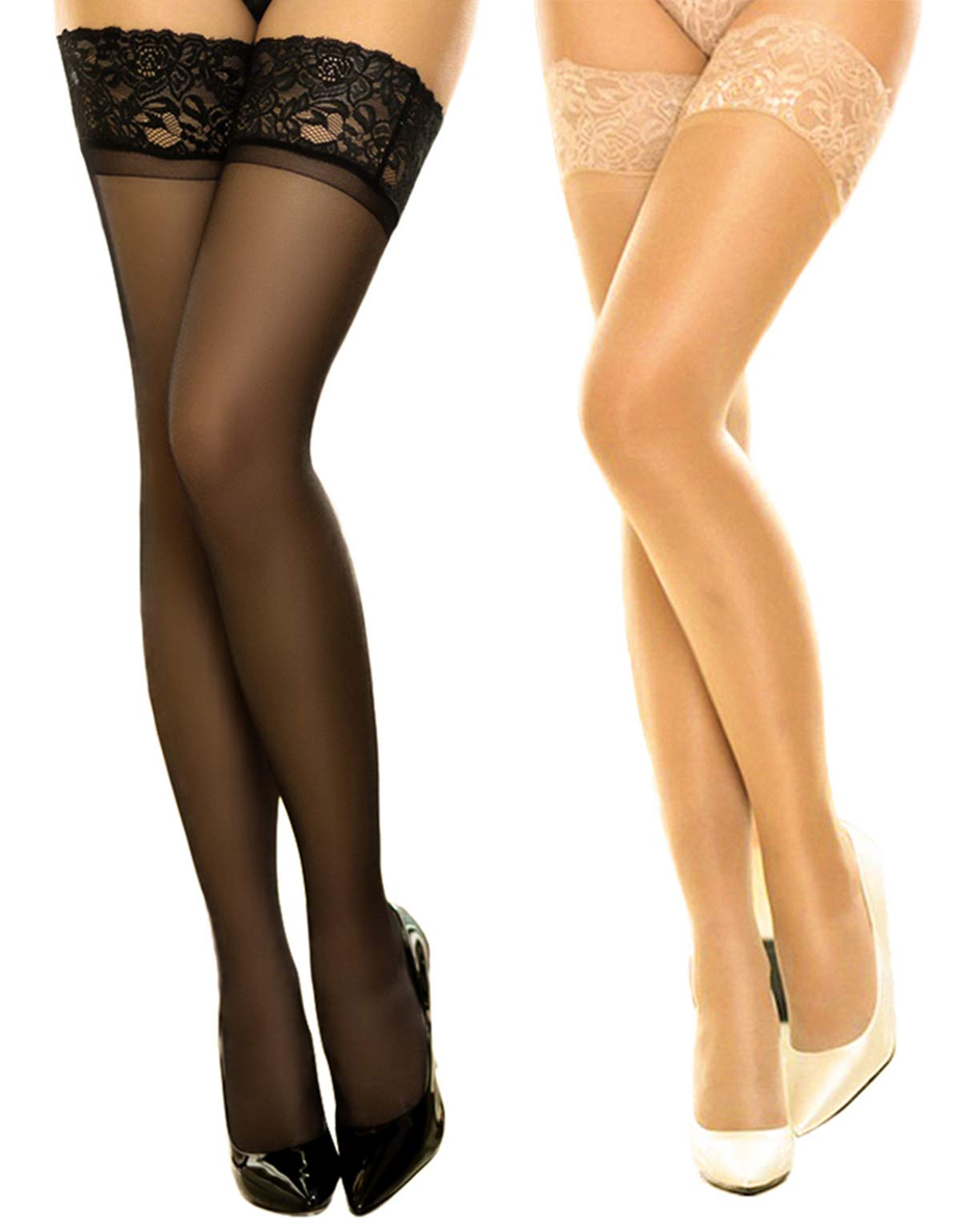 2 Pair Women's Thigh High Stockings Lace Sheer Silky Tights Silicone Stay Up Nylon Pantyhose for DancMolly
