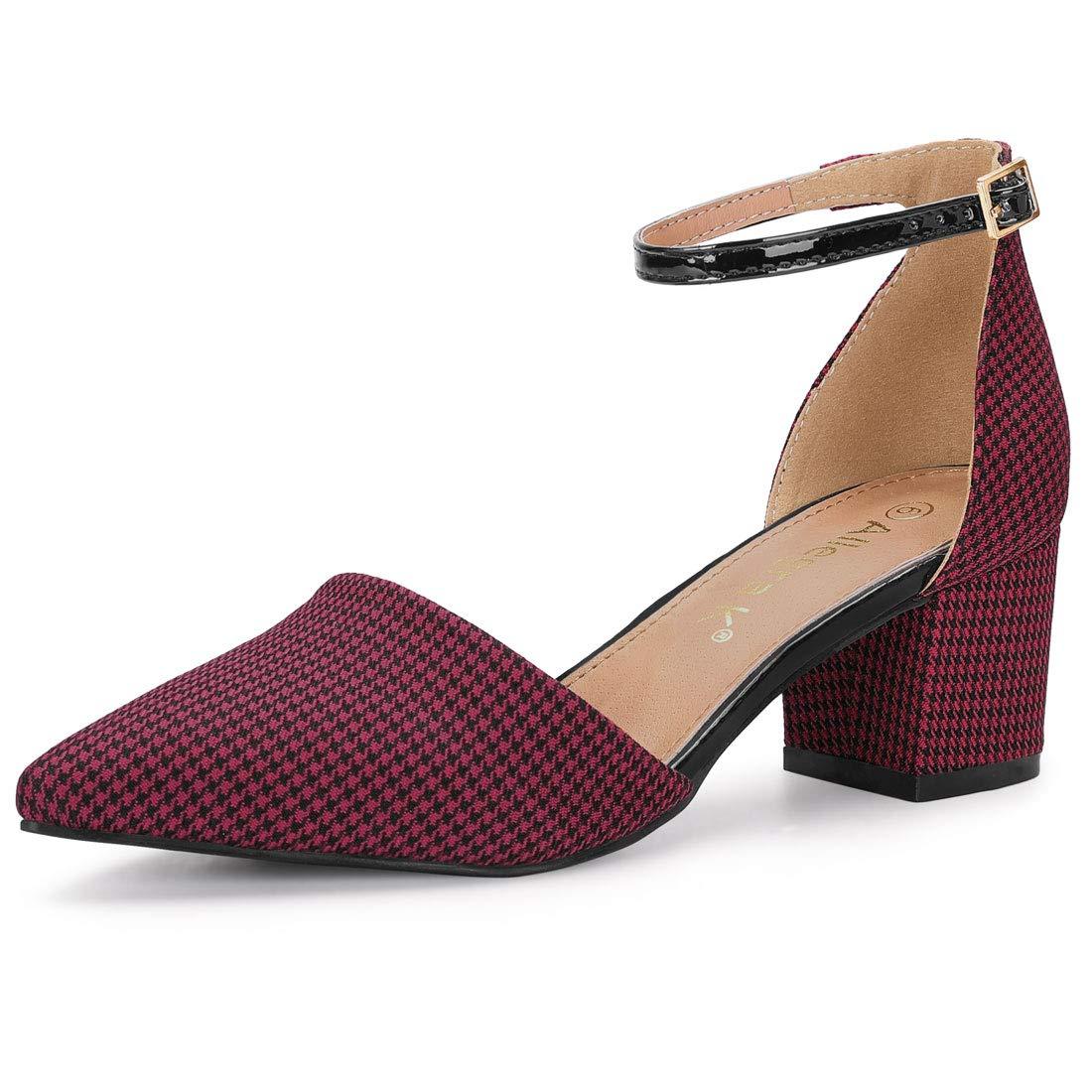 005e7774ff Amazon.com | Allegra K Women's Houndstooth Block Heel Ankle Strap Pumps |  Pumps