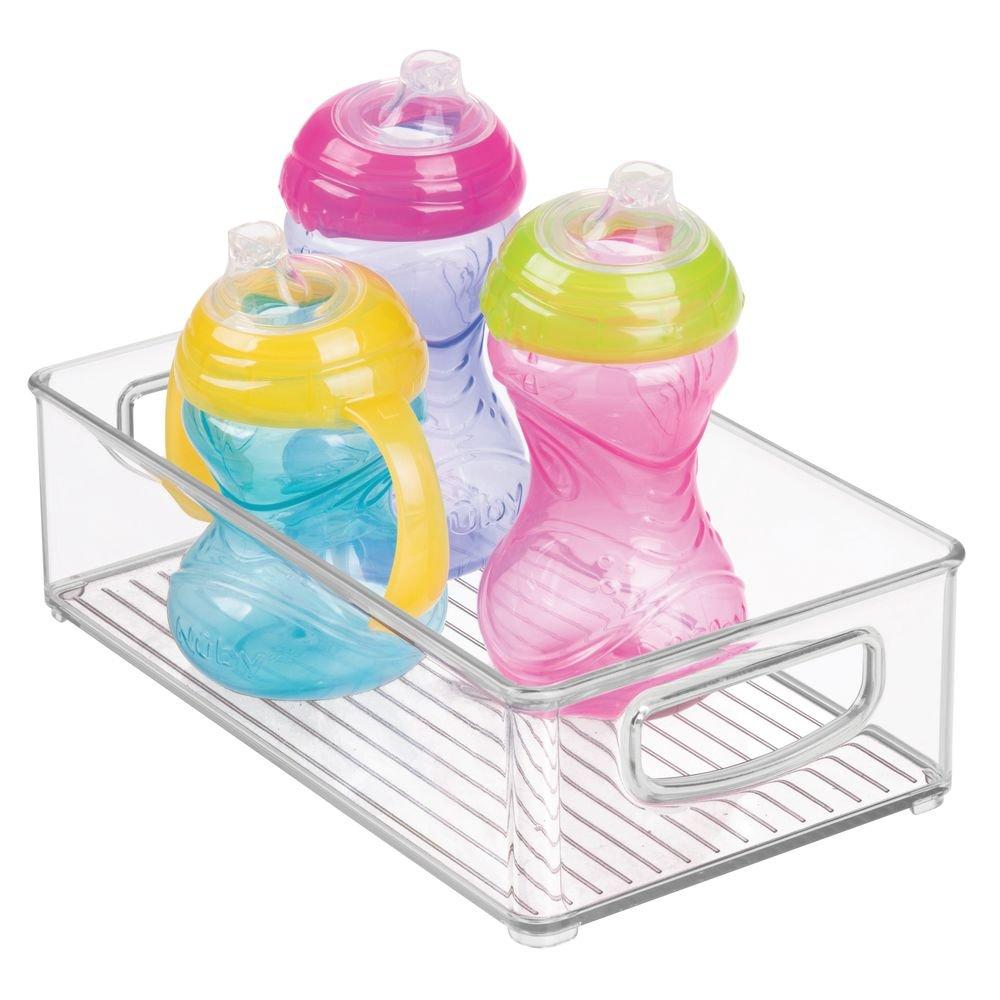 "mDesign Plastic Kitchen Pantry Cabinet, Refrigerator or Freezer Food Storage Bins with Handles - Organizer for Fruit, Yogurt, Snacks, Baby Bottles, Jars - BPA Free, 10"" Long - Clear"