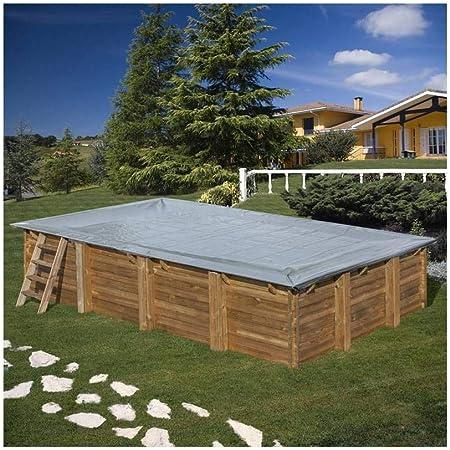 Cubierta invierno piscina GRE rectangular o cuadrada madera 580 g ...