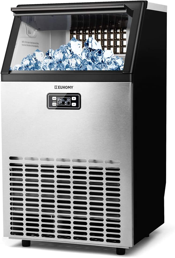 MECY Commercial Ice Maker Machine, Stainless Steel Automatic Ice Machine Make 100lbs/24H, Freestanding Ice Maker with 33lb Storage Capacity for Home, School, Office, Bar, Coffee Shop, Restaurants.