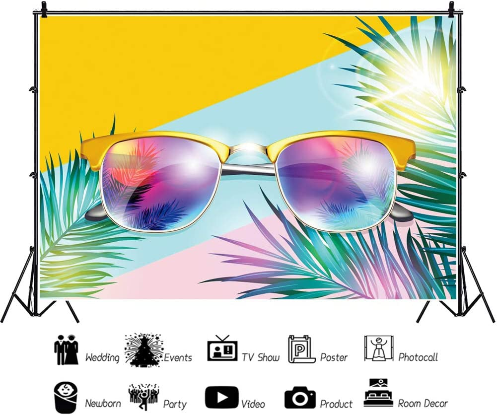 Haoyiyi 10x6.5ft Tropical Backdrops for Photography Sunglasses Summer Tropical Leaves Background Backdrop Photo Children Party Dessert Table Vacation Leisure Time Photo Booth Studio Props