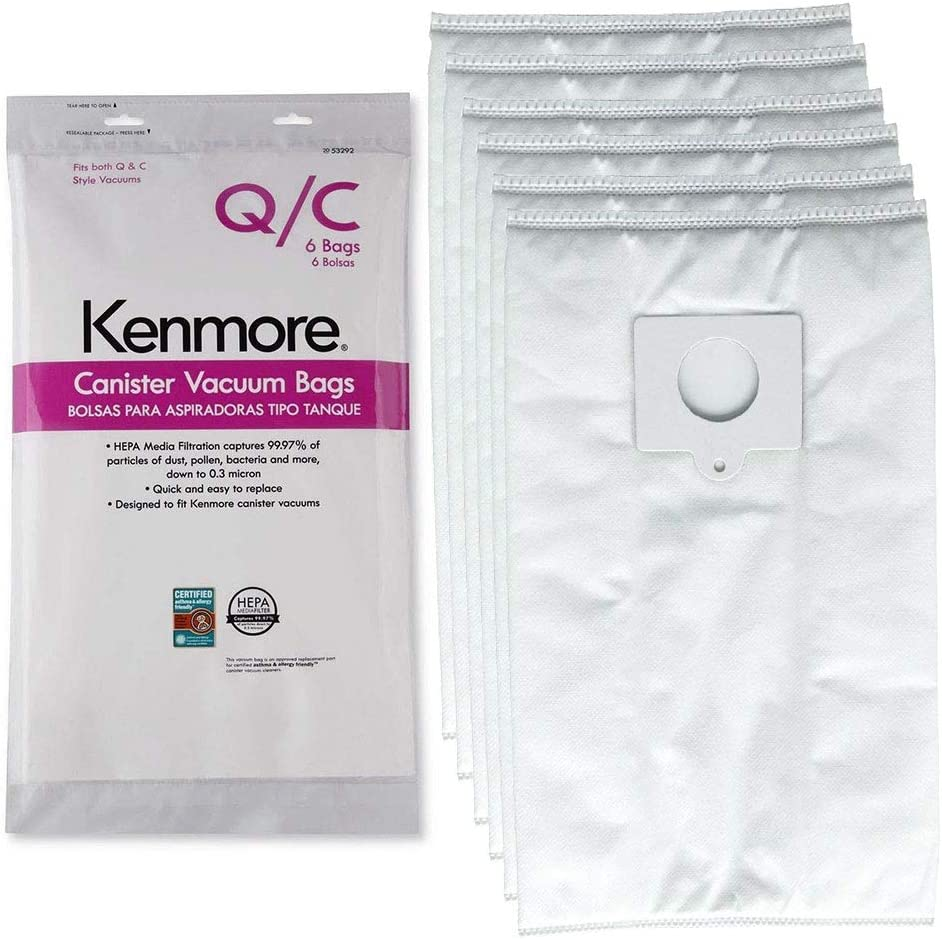 Eagles 6pack Replacement Style Q/C Vacuum Bags Compatible with Kenmore Canister Vacuum