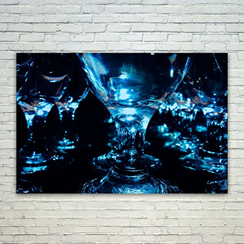 Dark Blue Water Goblet - Westlake Art Glass Photography - 12x18 Poster Print Wall Art - Modern Picture Photography Home Decor Office Birthday Gift - Unframed 12x18 Inch (1501-C4428)