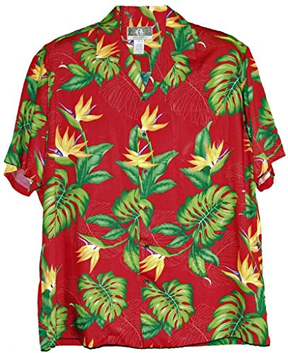 Island Paradise Hawaiian Shirt (RJC Brand Island Bird of Paradise Men's Hawaiian Shirt Red Large)