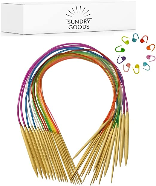 "14/"" bamboo circular knitting needles US 11,13,15 Thin metal cord coated w// nylon"