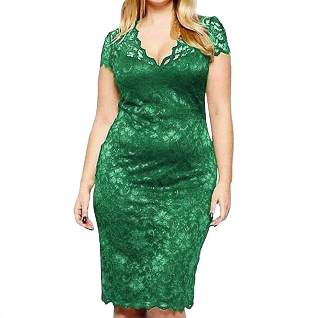Women Fashion Sexy Lace Plue Size Solid Short Sleeve Dress,Selinora Lady's Summer V-Neck Openwork Mini Dress Green