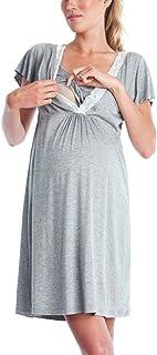 Vestito Da Maternità Donna Per Allattamento Abito Di Maternità Abito Di Gravidanza Scollo A V Elegante Pigiama Allattamento Vestito Premaman Casual Madre Pigiama Camicia Da Notte