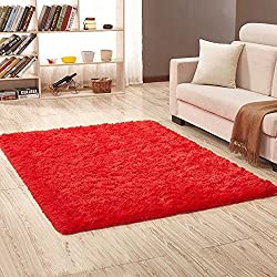 PAGISOFE Soft Girls Boys Room Rug Bedroom Nursery Decorative Carpet 4' x 5.3',Red