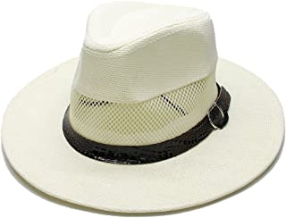 Summer Straw Wide Breathable Unisex's Brim Beach Panama Sun Fedora Hat Hollow Out Mesh Snake Skin Serpentine Band (Color : Cream, Size : 58cm)