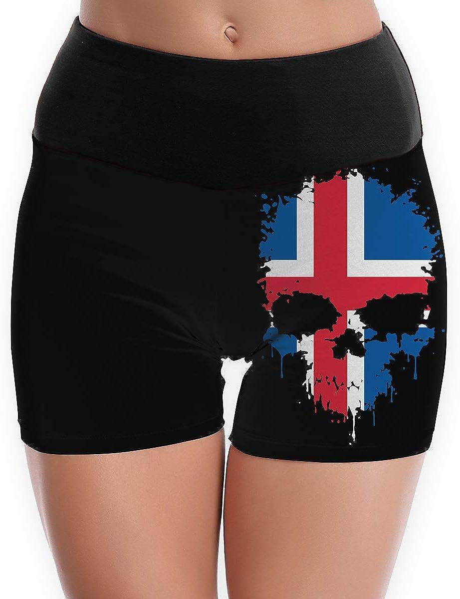TTBYOGA Iceland Flag Splatter Skull Womens High Waist Yoga Shorts Fitness Yoga Sport Short Legging