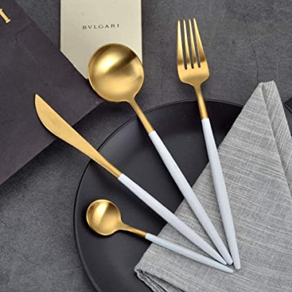 WHWH Set de Cubiertos de 24 Piezas con Tenedor,Cuchillo de ...