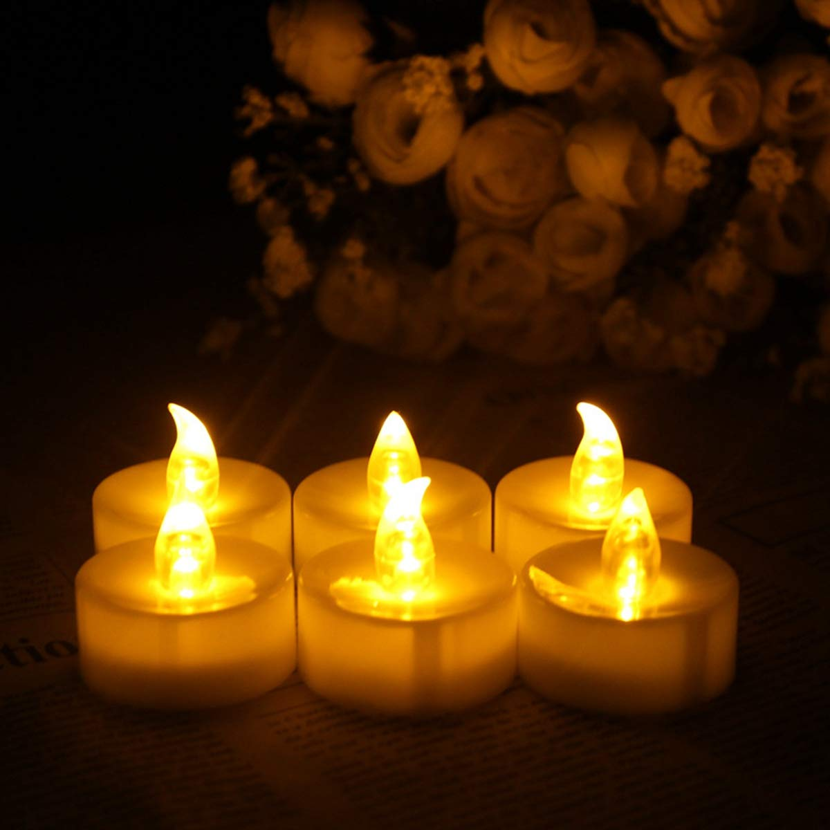 NUOBESTY 12Pcs LED flickering candle light luminous votive tealight candle decorative candle with remote control for proposal wedding party birthday