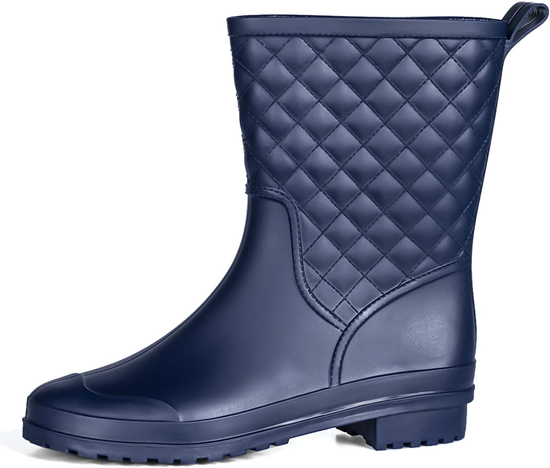 PENNYSUE Women's Mid Calf Rain Boots Outdoor Work Rubber Booties Short Waterproof Garden Shoes