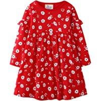 FreeLu Toddler Girl Clothes Cartoon Dress Casual Short Sleeves Dresses Cotton T-Shirt Size 2-7 Years