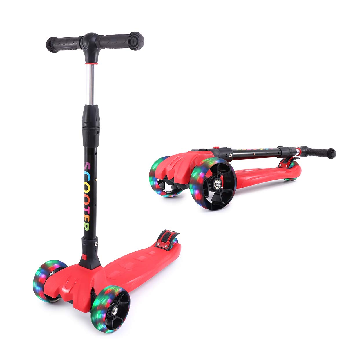 Kick Scooter for Kids with 4 Led Flashing Wheels for Boys or Girls Adjustable Height Extra Wide Deck Kick Scooter Best Gifts
