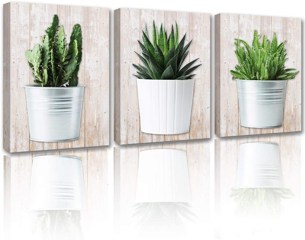 Bathroom Decor Cactus Wall Art - Potted Plant Cacti Canvas Gray Picture Painting Framed Modern Living Room Bedroom Prints Cute Succulent Decoration Artwork Poster 3 Piece Set