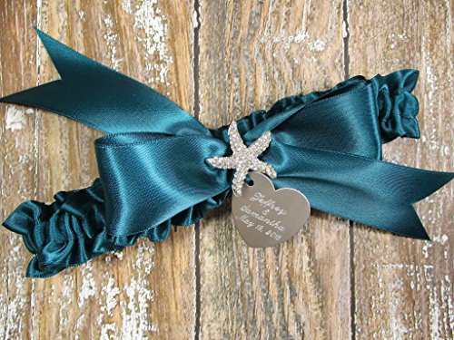 (Personalized Teal Beach Wedding Garter with a Rhinestone Starfish and Engraving)