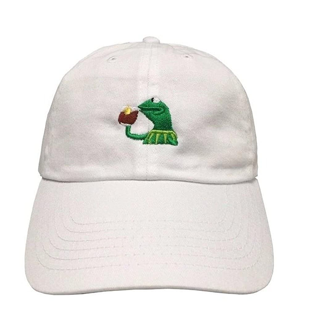 ce0cf491425 Raylarnia Marthasky Kermit The Frog Sipping Tea Adjustable Strapback Cap at  Amazon Men s Clothing store