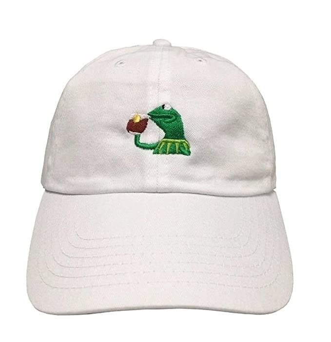 27e1cf70 Raylarnia Marthasky Kermit The Frog Sipping Tea Adjustable Strapback Cap at  Amazon Men's Clothing store: