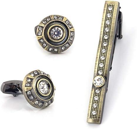 HONG-Accessories Camisa de Diamantes de imitación Gemelos Conjunto ...