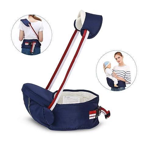 STEO Mochila Portabebés Desmontable Hipseat Portador de Bebé Ideal para Niños Pequeños Asiento de 4 Métodos de Uso Regalo Perfecto Azul Oscuro