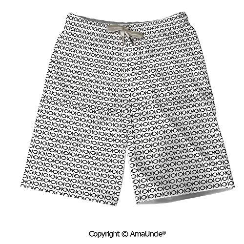 Personalized Beach Shorts Boardshorts for Men,Minimalist Simple Abstract Fish Pa