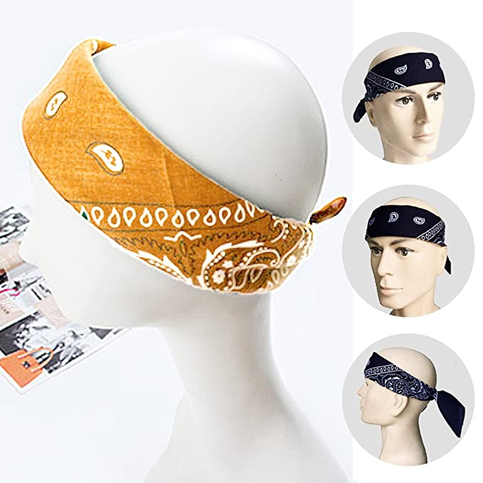 Gosear Multifuntional Square Scarf Cotton Headband Hip Hop Headwrap Headwear Men Women Outdoor Sport Neck Bandana