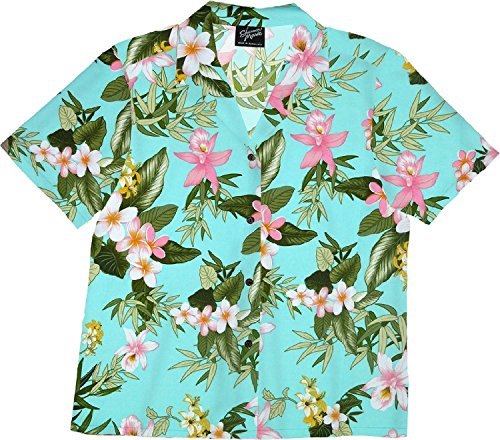RJC Womens Orchid Plumeria Camp Shirt Aqua 2X Plus