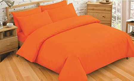 King Size Plain Dyed Orange Reversible Duvet Cover   Pillowcase ... ff348e4e96fa