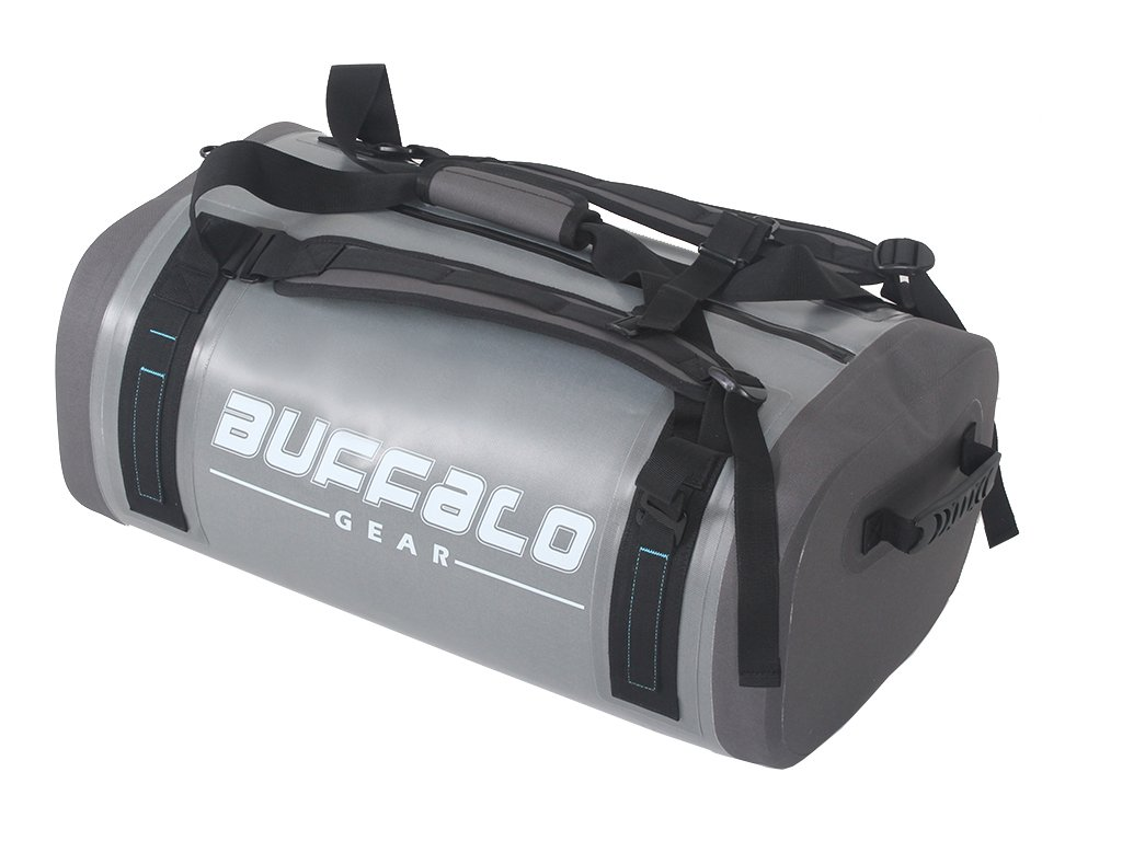 Airtight Waterproof Duffel Bag 50L Large Grey 840D TPU Dry Bag Backpack Dry Bag for Travel, Motorcycling, Cycling, Hiking, Camping, Kayaking, Beach, Boating Swimming Rafting Fishing and Watersports by BUFFALO GEAR