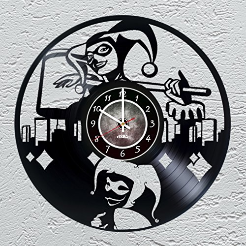 Harley Quinn - Vinyl Record Wall Clock - Supervillain Comics - Get unique living room wall decor - Gift ideas for boys and girls, friends, teens – Unique Art Design of Comics World Heroes - Harley Quinn Revenge Costume
