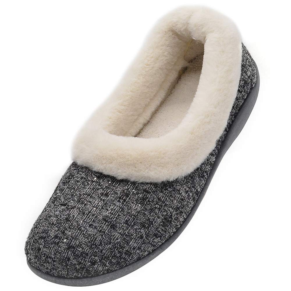Wishcotton Women's Knitted Cotton Memory Foam Slippers Fuzzy Collar Fleece Lined Outdoor Indoor House Shoes (9 B(M) US, Grey)
