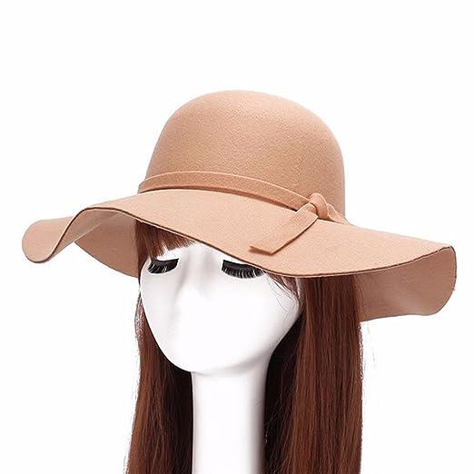 e60d8aeb072 Qingsun Fashipn Women s Vintage Large Wide Brim Wool Felt Floppy Winter  Fedora Cloche Hat Cap(