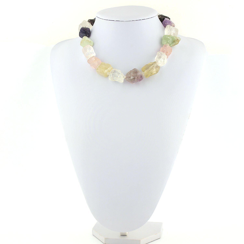 998ec37d5b88 Collar de fluorita cuarzo rosa amatista citrino lapislázuli de piedras  grandes en mix de colores verde amarillo púrpura azul y plata de ley de 46  cm (18.11 ...