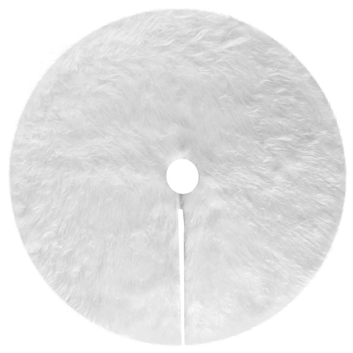Zehhe 31 inches Snowy White Faux Fur Christmas Tree Skirt Xmas Holiday Tree Ornaments Decoration Merry Christmas Party Decoration