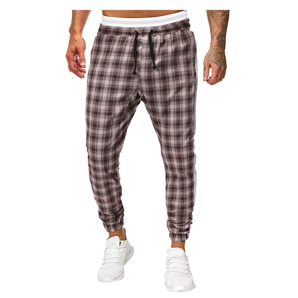 Men's Workout & Training Pants Scottish Plaid Joggers Lattice Track Pants Ankle Strap Zipper Mesh Stretch Waist Gray by LOVOZO