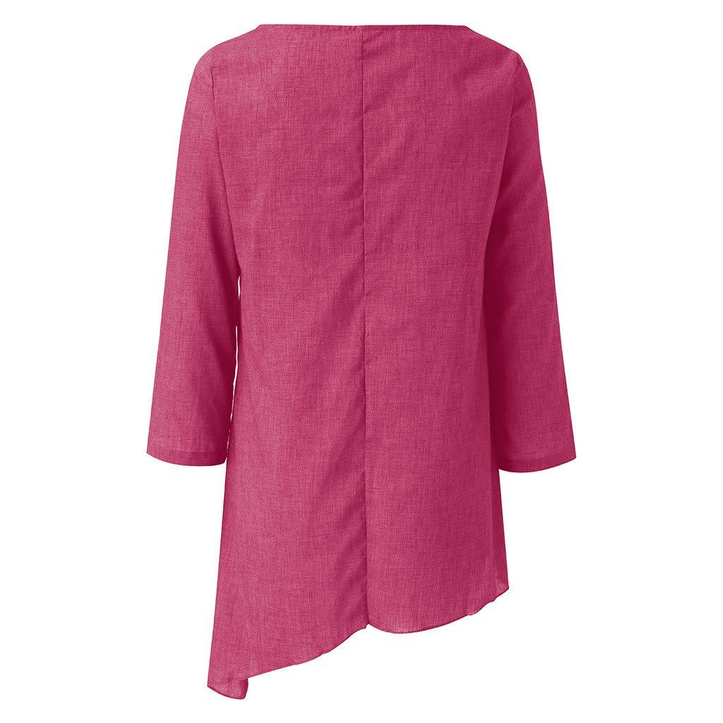 kanyankeji Women Plus Size Linen Solid Color Long Sleeve Baggy Blouse T Shirt O Neck Irregular Hem Tunic Tops with Pocket