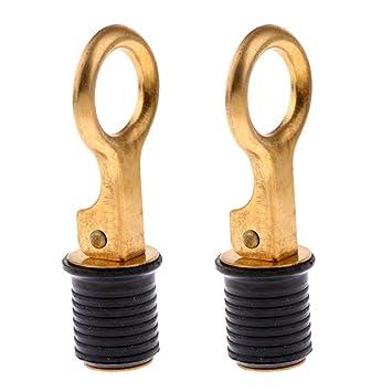 "Brass /& Rubber 1/"" snap lock BOAT DRAIN PLUG 2-PACK livewell bilge transom"