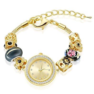 MANBARA Orologi da polso del braccialetto di fascino del tono dell'oro per i monili del partito delle donne