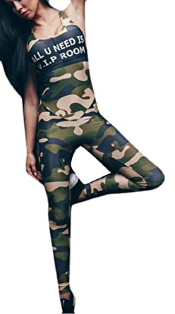 Amazon.com: FLCH+YIGE Women Tight Yoga Jumpsuit Camouflage ...